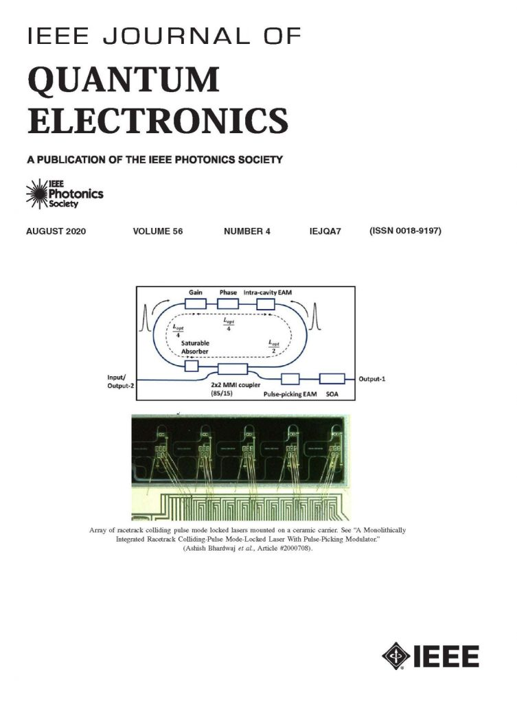 Paper by Professor Peter Delfyett Makes Front Cover of IEEE JQE August Issue